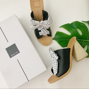 Dolce Vita Amber Black Heeled Sandal White Ribbon